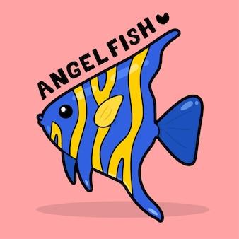 Leuke cartoon met zeeleven met woordenschat angelfish
