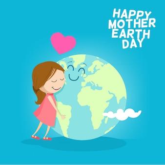 Leuke cartoon moeder aarde toont liefdeswereld