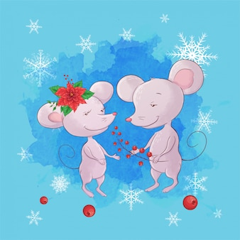 Leuke cartoon muis jongen en meisje. wenskaart voor nieuwjaar en kerstmis.