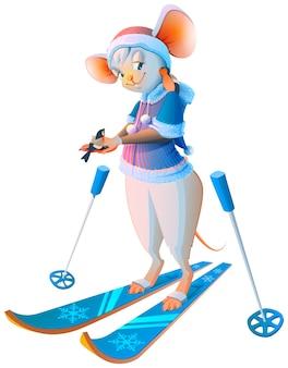 Leuke cartoon muis vrouw skiën karakter