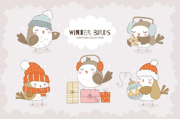 Leuke cartoon mussen karakter collectie kerst dieren vogel pictogrammen geïsoleerd hand getrokken