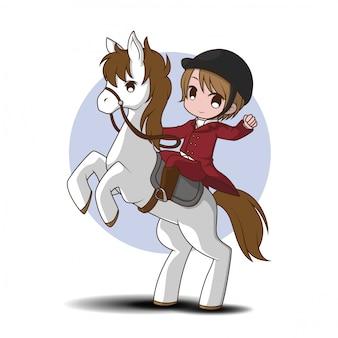 Leuke cartoon paardenraces karakter. sport karakter cartoon.
