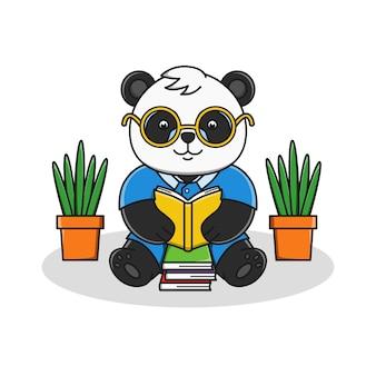 Leuke cartoon panda leesboek illustratie