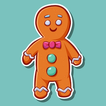 Leuke cartoon peperkoek man cookie sticker.