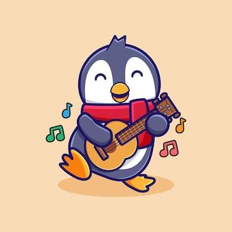 Leuke cartoon pinguïn ontwerp gitaar spelen