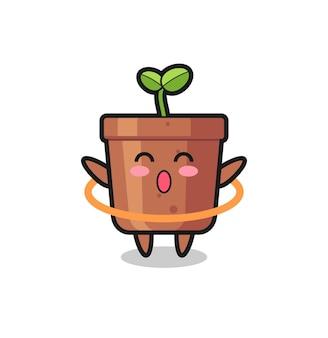 Leuke cartoon plantpot speelt hoelahoep, schattig stijlontwerp voor t-shirt, sticker, logo-element