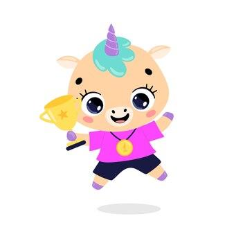 Leuke cartoon platte doodle dieren sport winnaars met gouden medaille en beker eenhoorn sport winnaar