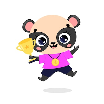 Leuke cartoon platte doodle dieren sport winnaars met gouden medaille en beker panda beer sport winnaar