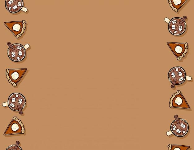 Leuke cartoon pompoen taart segment en cacao warme chocolademelk naadloze patroon
