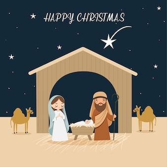 Leuke cartoon presenteert de geboorte van christus of de geboorte van jezus die wordt beschreven in de bijbel