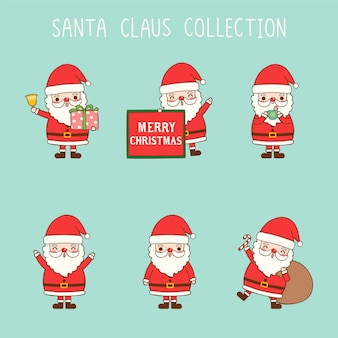 Leuke cartoon santa claus collectie in vlakke stijl