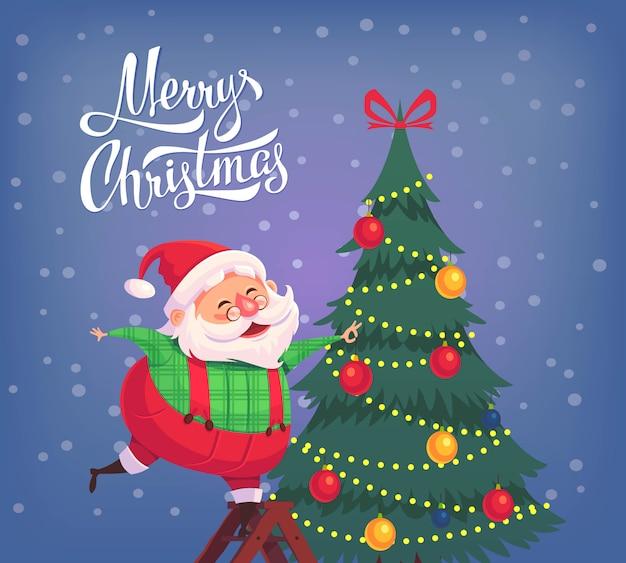 Leuke cartoon santa claus versieren kerstboom merry christmas illustratie wenskaart poster