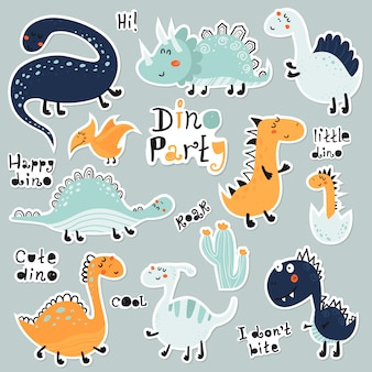 Leuke cartoon set dino stickers