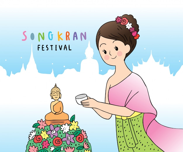 Leuke cartoon songkran festival thailand. vrouw in thaise jurk en boeddhabeeld.