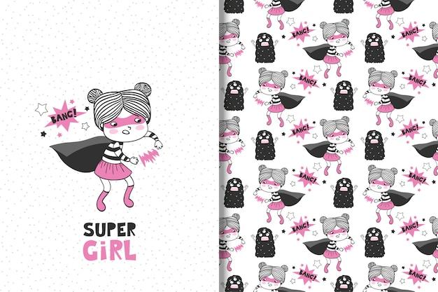 Leuke cartoon super meisje illustratie en naadloos patroon