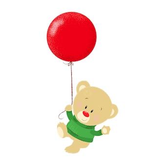 Leuke cartoon teddybeer in groene trui