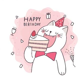 Leuke cartoon tekenen kat eten cake, gelukkige verjaardag