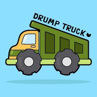 Leuke cartoon transportvoertuig met woordenschat drumptruck