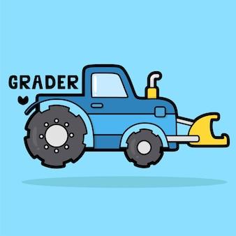 Leuke cartoon transportvoertuig met woordenschat grader
