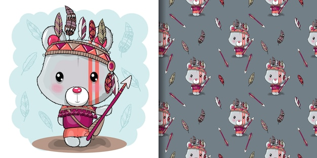 Leuke cartoon tribale teddybeer met veren, naadloos patroon