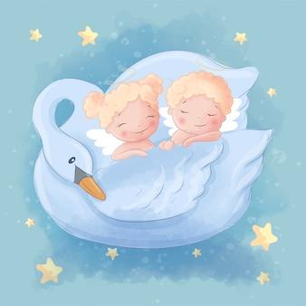 Leuke cartoon twee engelenjongen en meisje op een mooie zwaan