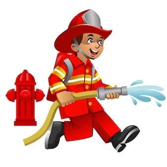 Leuke cartoon van brandweerman