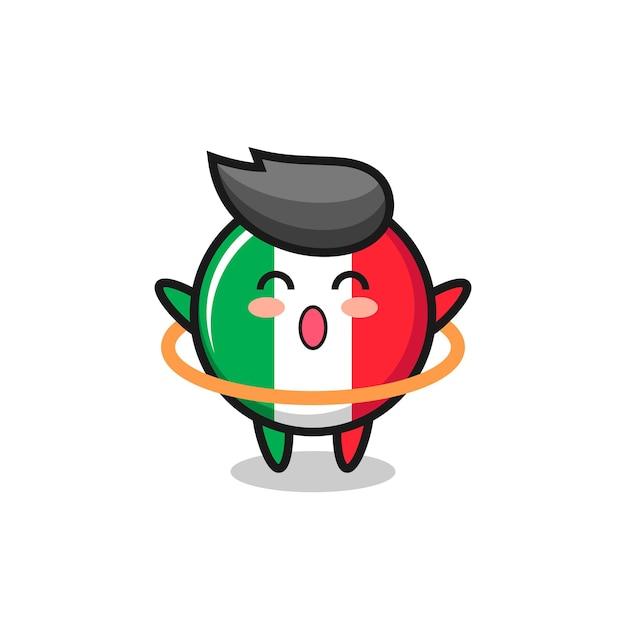 Leuke cartoon van de vlag van italië speelt hoelahoep, schattig stijlontwerp voor t-shirt, sticker, logo-element