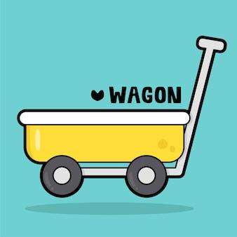 Leuke cartoon van het transportvoertuig met woordenschatwagen
