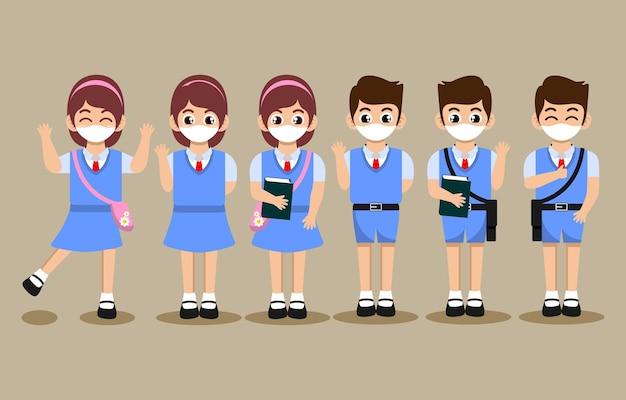 Leuke cartoon van studenten karakter met gezichtsmasker set