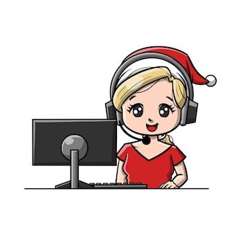 Leuke cartoon voor kerstklantenondersteuning