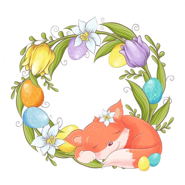 Leuke cartoon vos met een krans van pasen multi-gekleurde eieren en lentebloemen