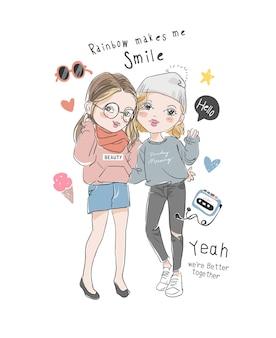 Leuke cartoon vriendinnen met kleurrijke pictogrammen illustratie