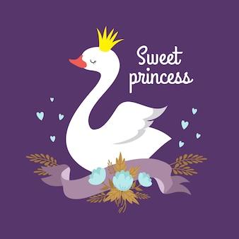 Leuke cartoon witte baby zwaan prinses