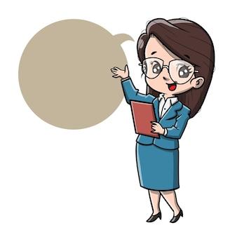 Leuke cartoon zakenvrouw