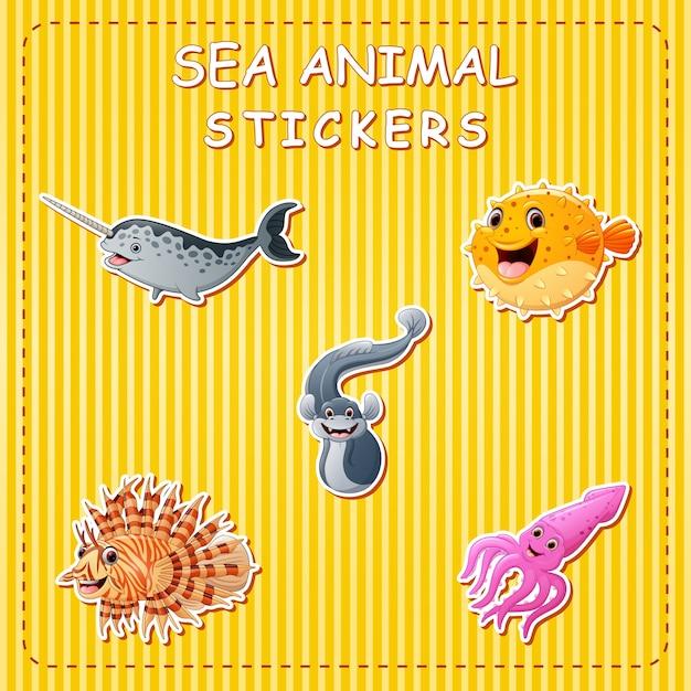 Leuke cartoon zeedieren op sticker