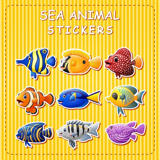 Leuke cartoon zeedieren op sticker