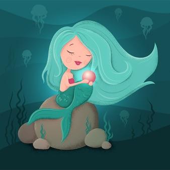 Leuke cartoon zeemeermin met een parel in een vlakke stijl met texturen.