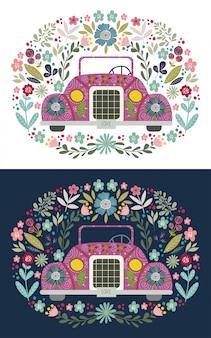 Leuke cartoonauto met volks bloemenelementen en patronen. handgetekende platte vectorillustratie