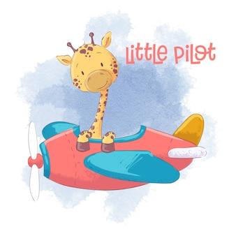Leuke cartoongiraf op een vliegtuig.