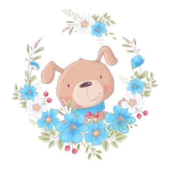 Leuke cartoonhond in een kroon van bloemen
