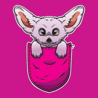 Leuke cartoonhond in een zak