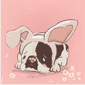 Leuke cartoonhond met haaspet en bloemen