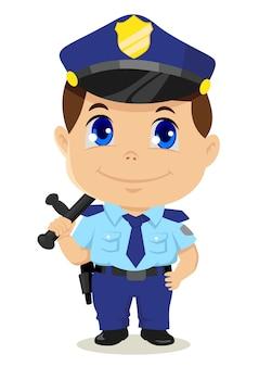 Leuke cartoonillustratie van een politieagent