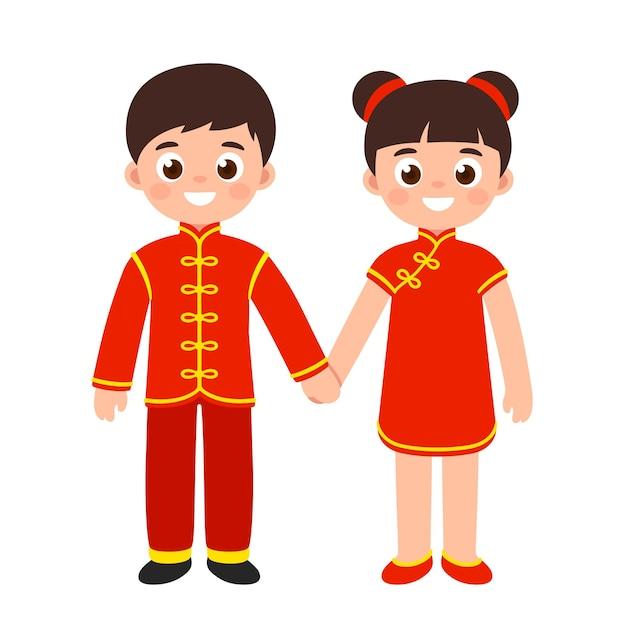 Leuke cartoonjongen en meisje in traditionele rode chinese nieuwjaarskleren