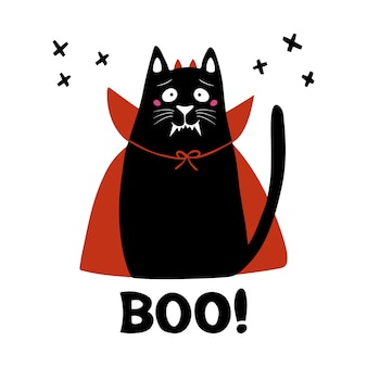 Leuke cartoonkat draagt vampierkostuum met hoektanden, hoorns en rode mantel en boe-geroep. halloween