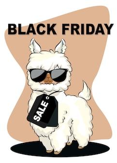 Leuke cartoonlama foto's zwarte vrijdag verkoop