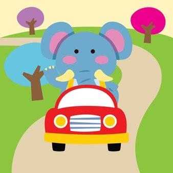 Leuke cartoonolifant die door auto reist