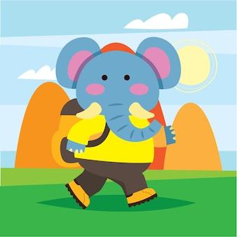 Leuke cartoonolifant die in de wildernis loopt