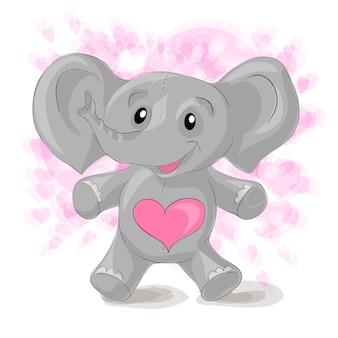Leuke cartoonolifant met harten.