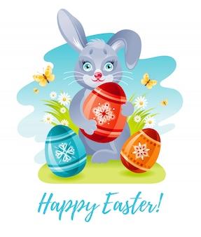 Leuke cartoonpaashaas met kleureneieren. lente konijn vakantie illustratie.